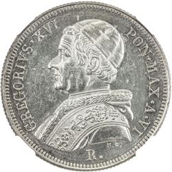 PAPAL STATES: Gregory XVI, 1831-1846, AR 50 baiocchi, 1836-R year VI. NGC UNC