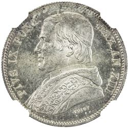 PAPAL STATES: Pius IX, 1846-1878, AR 20 baiocchi, 1859-R year XIII. NGC MS62