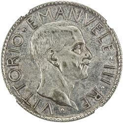 ITALY: Vittorio Emanuele III, 1900-1946, AR 20 lire, 1928-R. NGC AU