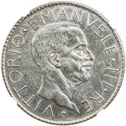 ITALY: Vittorio Emanuele III, 1900-1946, AR 20 lire, 1928-R. NGC UNC
