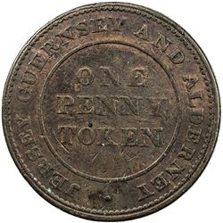 JERSEY: AE penny token, 1813. F-VF