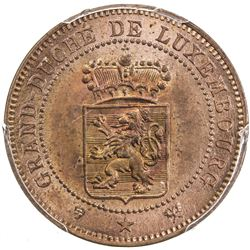 LUXEMBOURG: Guillaume III, 1849-1890, AE 5 centimes, 1889. PCGS SP64