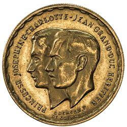 LUXEMBOURG: Charlotte, 1919-1964, AV medallic 20 francs (6.45g), 1953(b). AU