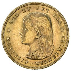 NETHERLANDS: Wilhelmina I, 1890-1948, AV 10 gulden, 1897. EF