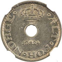 NORWAY: Haakon VII, 1905-1957, 10 ore, 1924. NGC MS65