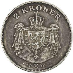 NORWAY: Haakon VII, 1905-1957, AR 2 kroner, 1907. VF