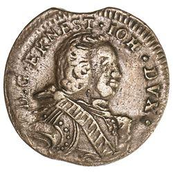 COURLAND: Ernst Johann Biron, 2nd reign, 1762-1769, AE solidus (1.20g), 1764. VF-EF
