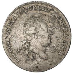 COURLAND: Peter Biron, 1769-1795, AR thaler, 1780. VF
