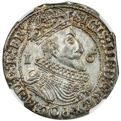 DANZIG: Sigismund III, 1587-1632, AR 1/4 thaler (ort), 1625. NGC MS63