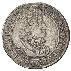 DANZIG: Johann Casimir, 1639-1669, AR ort (5.50g), 1651. VF