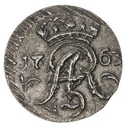 ELBING: August III, 1733-1763, AE solidus (0.61g), 1763. EF