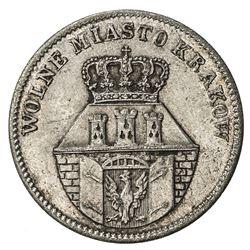 KRAKOW: Free City of Krakow, 1815-1846, AR 10 groszy, 1835. EF-AU