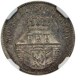 KRAKOW: Free City of Krakow, 1815-1846, AR 1 zloty, 1835. NGC MS62