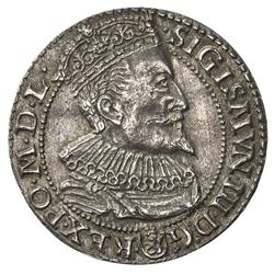 POLAND: Zygmunt III Vasa, 1587-1632, AR 6 groszy, Malbork (Marienburg), [15]96. EF