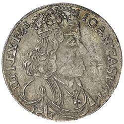 POLAND: Jan II Kazimierz Waza, 1649-1668, AR 18 groszy (tympf), 1655. EF