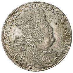 POLAND: August III, 1733-1763, AR 18 groszy (tympf) (5.89g), 1755. EF-AU
