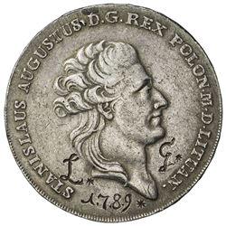 POLAND: Stanislaus Augustus, 1764-1795, AR thaler (8 zlotych) (27.99g), 1788. EF
