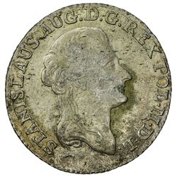 POLAND: Stanislaus Augustus, 1764-1795, AR 4 grosze, 1790. UNC