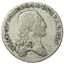 POLAND: Friedrich August I, of Saxony, 1807-1814, AR 1/3 talar (8.62g), 1814. VF