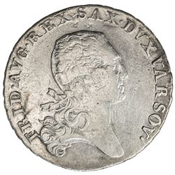 POLAND: Friedrich August I, of Saxony, 1807-1814, AR 1/3 thaler, Warsaw, 1814. F-VF