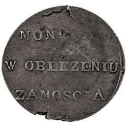 POLAND: Siege Issue, AR 2 zlote (6.69g), Zamosc, 1813. VF