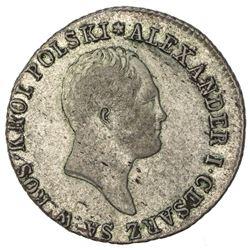POLAND: Alexander I, of Russia, 1815-1825, AR zloty, 1818. VF