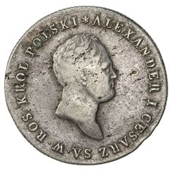 POLAND: Alexander I, of Russia, 1815-1825, AR 5 zlotych, 1816. VF