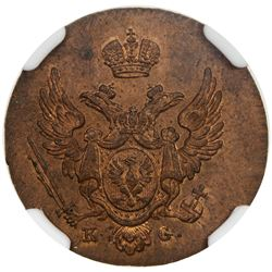 POLAND: Nicholas I, of Russia, 1825-1855, AE grosz, Warsaw mint, 1833. NGC MS64