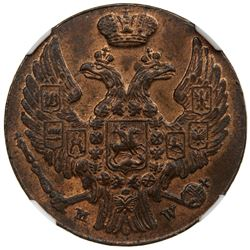 POLAND: Nicholas I, of Russia, 1825--1855, AE grosz, 1839-MW. NGC MS63