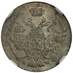 POLAND: Nicholas I, of Russia, 1825-1855, AR 5 groszy, Warsaw mint, 1840. NGC MS66