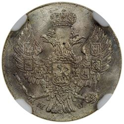 POLAND: Nicholas I, of Russia, 1825-1855, AR 5 groszy, Warsaw mint, 1840. NGC MS65