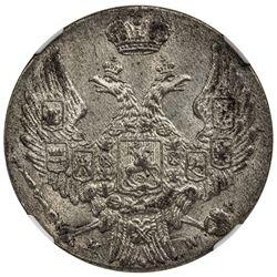 POLAND: Nicholas I, of Russia, 1825-1855, AR 10 groszy, 1840-MW. NGC MS62