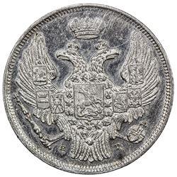 POLAND: Nicholas I, of Russia, 1825-1855, AR zloty (15 kopecks), St. Petersburg, 1832. AU