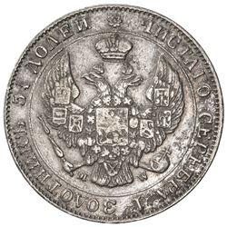POLAND: Nicholas I, of Russia, 1825-1855, AR 50 groszy, Warsaw, 1846. VF