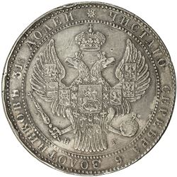 POLAND: Nicholas I, of Russia, 1825-1855, AR 10 zlotych (1 1/2 roubles), St. Petersburg, 1833. VF