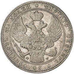 POLAND: Nicholas I, of Russia, 1825-1855, AR 10 zlotych (1 1/2 roubles), Warsaw, 1836. VF-EF