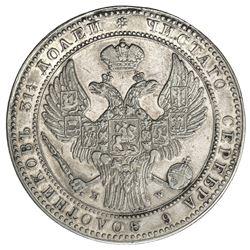 POLAND: Nicholas I, of Russia, 1825-1855, AR 10 zlotych (1 1/2 roubles), Warsaw, 1836. VF