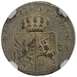 POLAND: November Uprising, 1830-1831, AR 10 groszy, Warsaw mint, 1831. NGC MS64