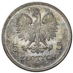 POLAND: Republic, AR 5 zlotych, 1930. UNC