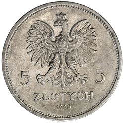 POLAND: Republic, AR 5 zlotych, 1930(w). AU