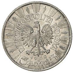 POLAND: Republic, AR 5 zlotych, 1938(w). AU