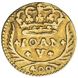 PORTUGAL: Joao V, 1706-1750, AV 400 reis (0.95g), Lisbon, 1741. VF