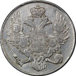 RUSSIAN EMPIRE: Nicholas I, 1825-1855, platinum 3 roubles, 1842. PCGS EF40