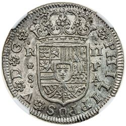 SPAIN: Felipe V, 2nd reign, 1724-1746, AR 2 reales, 1732-S. NGC MS64