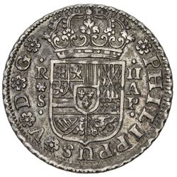 SPAIN: Felipe V, 2nd reign, 1724-1746, AR 2 reales, 1736-S. VF-EF