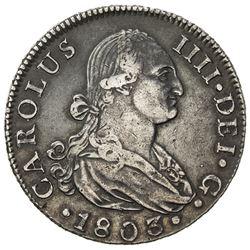 SPAIN: Carlos IV, 1788-1808, AR 8 reales (27.08g), 1803-S. VF