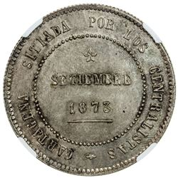 SPAIN: AR 5 pesetas, Cartagena, 1873. NGC MS62