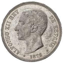 SPAIN: Alfonso XII, 1874-1885, AR 5 pesetas, 1876. UNC
