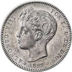 SPAIN: Alfonso XIII, 1886-1931, AR peseta, 1899 (99). UNC
