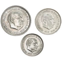 SPAIN: SET of three coins for the 2nd Ibero-American Numismatic Exposition in Barcelona in 1958